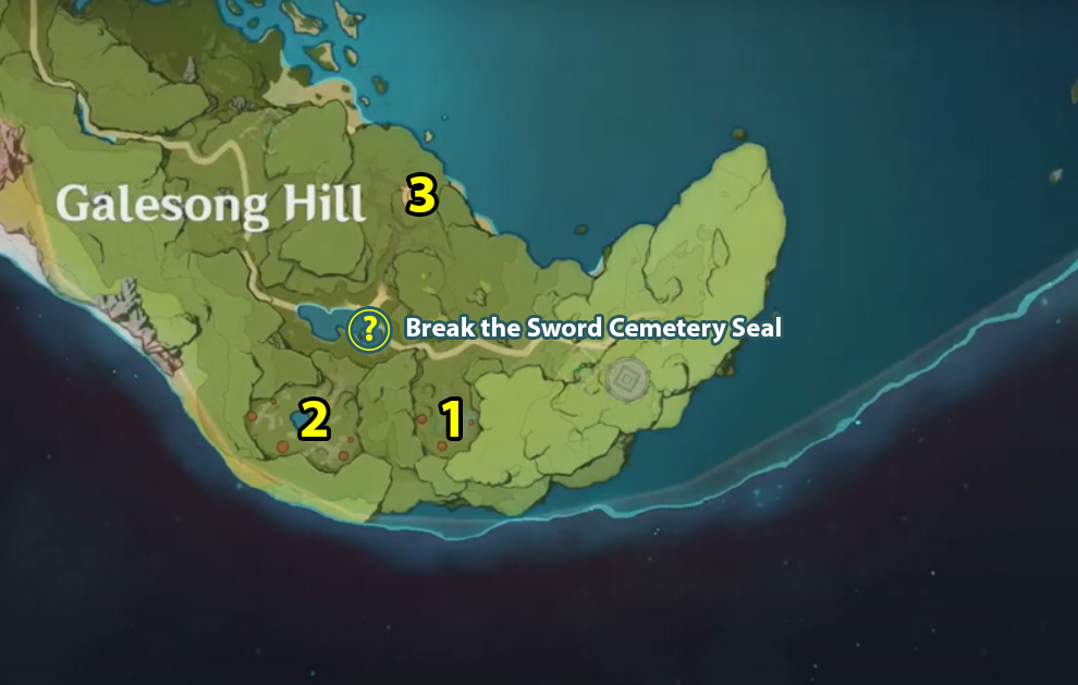 Break the Sword Cemetery Seal Quest Locations on Map